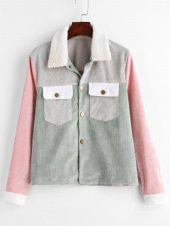 Colorblock Fur Collar Thin Corduroy Jacket - Multi L
