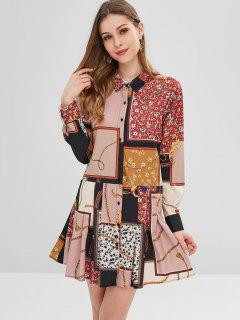 Printed Mini Shirt Dress - Multi L