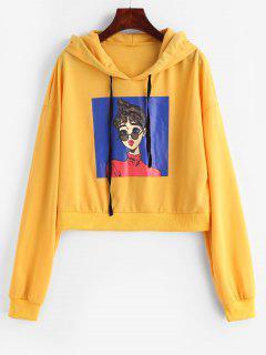 Figure Graphic Slit Hoodie - Bright Yellow M
