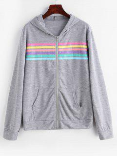 Stripes Panel Zip Up Pockets Hoodie - Gray Cloud L