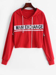 Cropped Letter Patched Hoodie - Lava Red M