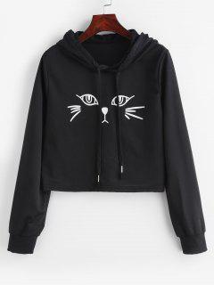 Drawstring Cute Cat Graphic Hoodie - Black Xl