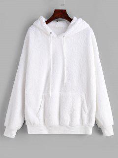 Drawstring Fluffy Front Pocket Teddy Hoodie - White 2xl