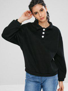 Collared Fleece Lined Sweatshirt - Black M