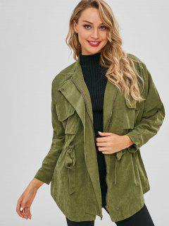 Elastic Waist Pockets Thin Coat - Army Green M