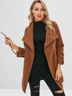 Drawstring Waist Trench Coat - Brown Xl