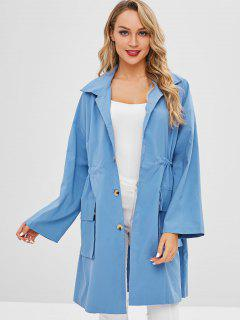 Patch Pockets Oversized Trench Coat - Crystal Blue L