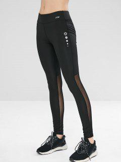 Mesh Panel Sport Yoga Gym Leggings - Black M