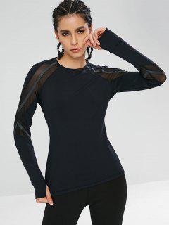 Long Sleeve Mesh Insert Sport Gym Tee - Black M