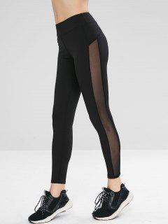 Mesh Panel Workout Gym Yoga Leggings - Black L