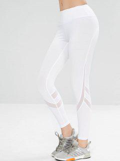Mesh Insert Sport Athletic Yoga Leggings - White M