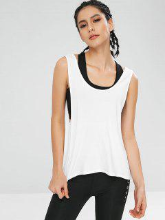 Backless Athletic Gym Tank Top - White L