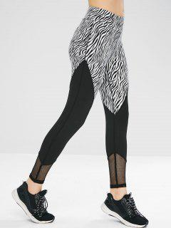 Fishnet Panel Zebra Gym Sport Leggings - Black L