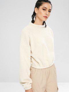 Casual Drop Shoulder Fluffy Sweatshirt - Warm White L