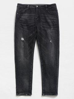 Straight Leg Zipper Distressed Cuffed Jeans - Black 34