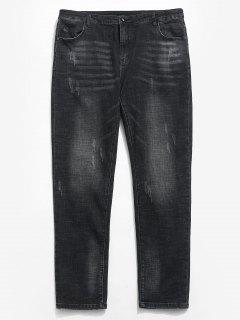 Casual Straight Leg Zipper Cuffed Jeans - Black 38