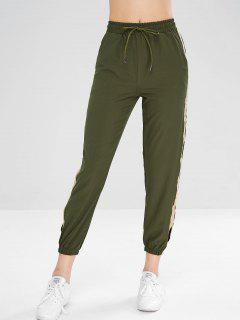 Drawstring Split Contrast Jogger Pants - Green L