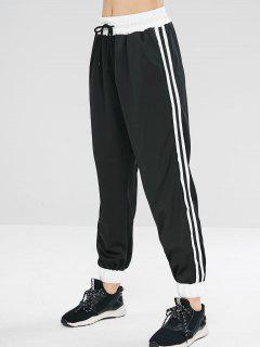 Pantalon à Rayures Latérales à La Taille - Noir L