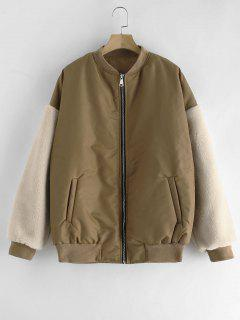 Quilted Faux Fur Sleeve Bomber Jacket - Dark Khaki S