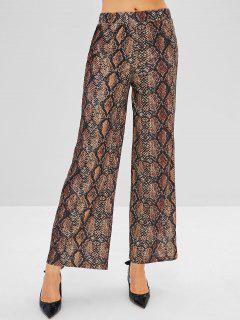 Snake Print Wide Leg Pants - Multi L