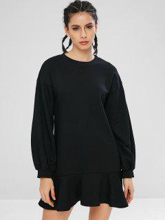 Vestido De Sudadera Con Volantes En El Bajo Con Volante En El Bajo - Negro 2xl