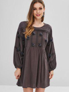 Fuzzy Balls Embelished Lantern Sleeve Dress - Carbon Gray S