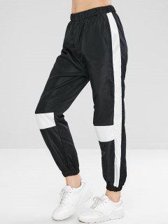 Pantalones De Jogger Color Block Windbreaker - Negro M