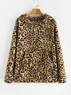 ZAFUL Pouch Pocket Leopard Print Fleece Hoodie - Leopard M
