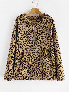 ZAFUL Pouch Pocket Leopard Print Fleece Hoodie - Leopard L