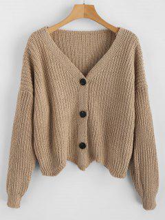 Scalloped Hem Chunky Knit Cardigan - Tan