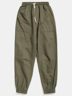 Solid Beam Feet Cargo Pants - Army Green L