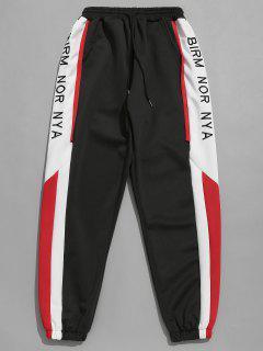 Side Letter Stripe Color Block Pants - Black S