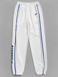 Pantalon De Jogging Lettre Rayé Contrasté - Blanc S