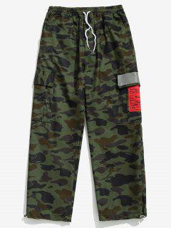 Camo Print Reflective Strip Cargo Pants - Acu Camouflage S