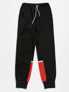 Color Block Patchwork Jogger Pants - Black S