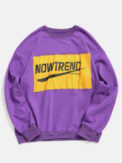 Chest Letter Patchwork Sweatshirt - Purple S