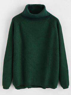 Suéter De Manga Raglán Cuello Alto Cuello Alto - Verde Oscuro