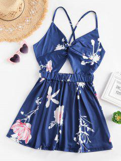 Floral Print Cami Cut Out Tie Back Romper - Lapis Blue S