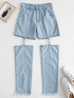 Frayed Hem Cut Out Jeans - Jeans Blue L