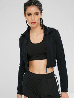 Sport Zip Up Crop Gym Jacket - Black M