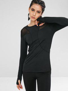Long Sleeve Mesh Insert Gym Tee - Black M