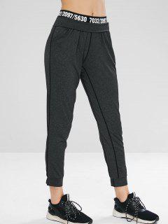 Figure Print Gym Sport Jogger Pants - Black M