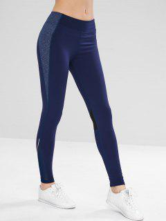 Perforated Sport Stretchy Yoga Leggings - Blue L
