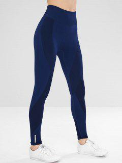 Seamless High Rise Yoga Gym Leggings - Blue L