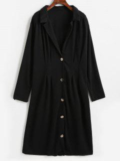 Lapel Button Up Dress - Black L