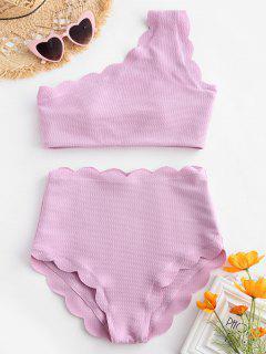 High Waisted Scalloped One Shoulder Bikini Set - Mauve Xl