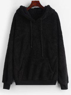Drawstring Fluffy Front Pocket Teddy Hoodie - Black S