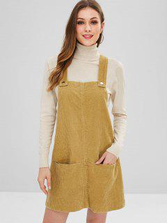 Front Pocket Corduroy Suspender Dress - Yellow L