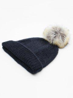Winter Flanging Pom Pom Beanie - Black
