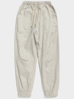 Pantalones De Carga De Pies De Viga Sólida - Platino M